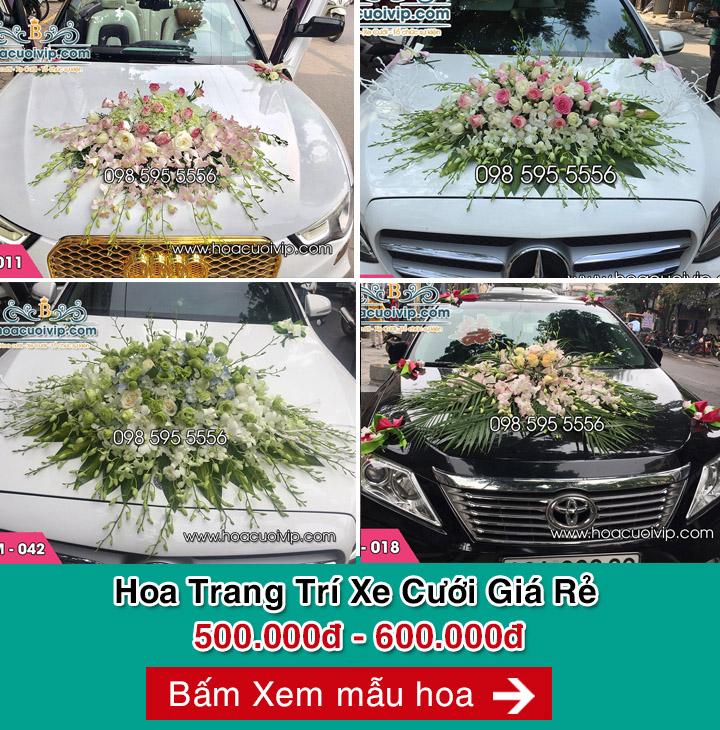 hoa trang trí xe cưới giá rẻ